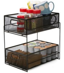 mind reader 2 tier metal mesh storage baskets organizer, home, office, kitchen, bathroom