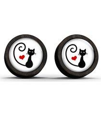 kolczyki drewniane - kotek, serce - czarne