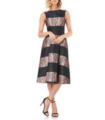 women's kay unger sarah stripe floral lace cocktail dress