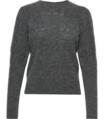 pointelle roundneck stickad tröja grå maud