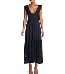 rebecca taylor women's ponte eyelet midi dress - midnight - size l