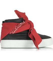 joshua sanders designer shoes, black nylon high top bandana sneakers