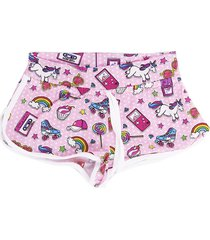 ninenties patch print girl beach shorts