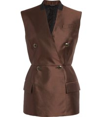 women's givenchy peplum double breasted wool & silk vest, size 6 us - brown