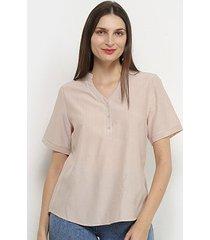 blusa adooro! manga curta botões lisa feminina