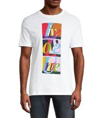 french connection men's live love unite graphic t-shirt - linen white - size l
