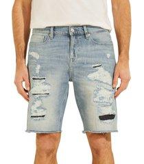 guess men's eco slim-fit destroyed denim shorts