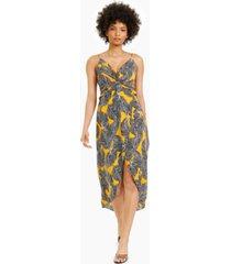 bar iii twist-front printed midi dress, created for macy's