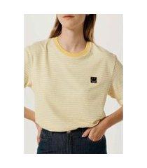 camiseta unissex listrada com bordado smiley®