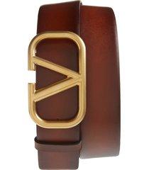 men's big & tall valentino logo buckle leather belt, size 115 eu - cognac