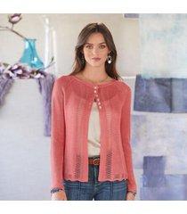 sundance catalog women's lacey & lovely cardigan - petites in rouge petite 2xs