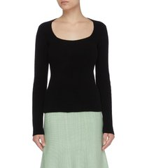 square neck ribbed cashmere sweater
