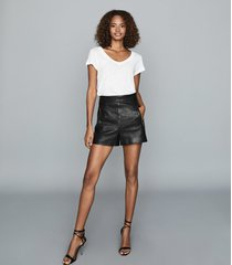 reiss bella - leather shorts in black, womens, size 10