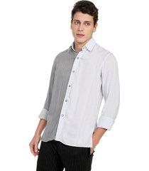camisa casual de rayas con gris  osop mansion