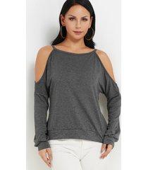 hombro frío recortado gris redondo cuello camiseta suelta de manga larga