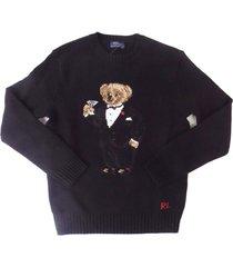 new men's polo ralph lauren polo tuxedo martini bear black wool sweater
