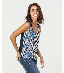 camiseta estampada de tiras cuello en v