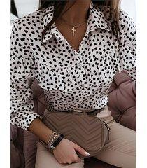 corazón ribete de volantes de lunares classic blusa de manga larga con cuello