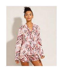 camisa de pijama manga longa em viscose estampada com vivo contrastante off white