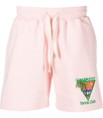 casablanca tennis club-embroidered organic cotton shorts - pink