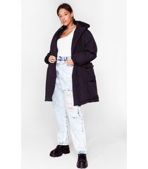 womens puff up the jam plus padded belted coats - black