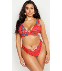 plus chain print high leg deep plunge bikini