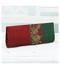 embroidered clutch handbag, 'flowery in crimson and emerald' (india)