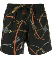 amiri chain print swim shorts - black