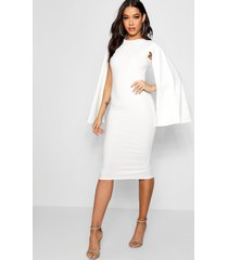 cape sleeve bodycon midi dress, white