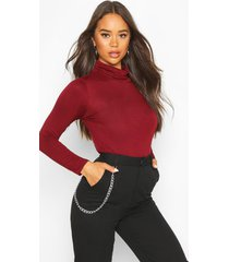 basic turtle neck long sleeve top, berry