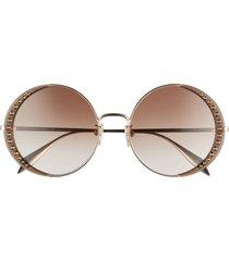 women's alexander mcqueen 57mm gradient round sunglasses - gold/ brown gradient