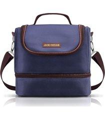 (for men) bolsa tã©rmica com 2 compartimentos jacki design azul marrom - azul - masculino - dafiti