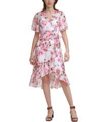 calvin klein flutter-sleeve faux-wrap dress