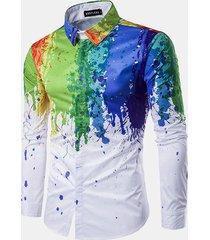 camicia slim fit stampa fantasia colorata