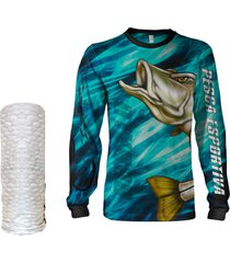 camisa máscara pesca quisty robalo arisco azul proteção uv dryfit infantil/adulto - camiseta de pesca quisty