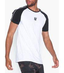 siksilk raglan straight hem tape gym tee t-shirts & linnen black/white
