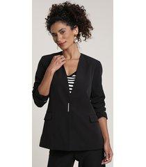 blazer feminino com bolsos preto