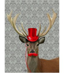 """fab funky deer with red hat and moustache canvas art - 15.5"""" x 21"""""""
