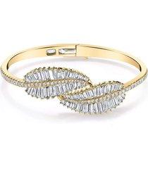yellow gold baguette palm leaf diamond bracelet