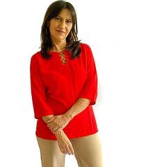 blusa aros rojo plica