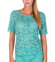 blouse lisca strandtop florida groen met korte mouwen