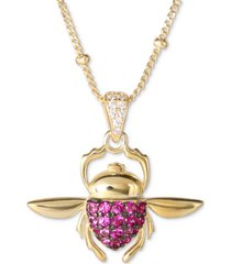 "disney cubic zirconia aladdin jafar scarab 18"" pendant necklace in 18k gold-plated sterling silver"
