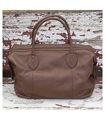 leather travel bag, 'let's go in brown' (mexico)
