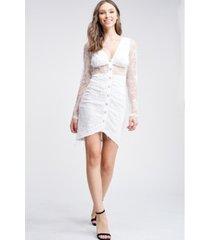 emory park lace long sleeve shirring v neck raw edge knit mini dress