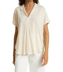 club monaco jandina linen split neck top, size x-large in flax at nordstrom