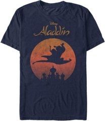 disney men's aladdin jasmine silhouette over agrabah vintage short sleeve t-shirt