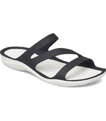 swiftwater sandal w blk/whi shoes summer shoes flat sandals svart crocs