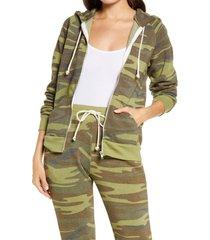 women's alternative adrian print zip hoodie, size small - green