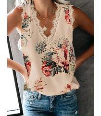 camiseta sin mangas sin mangas con cuello en v y ribete de encaje con estampado floral al azar