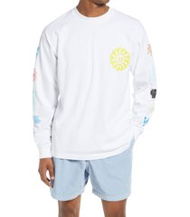 men's obey peace justice equality long sleeve graphic tee, size medium - white